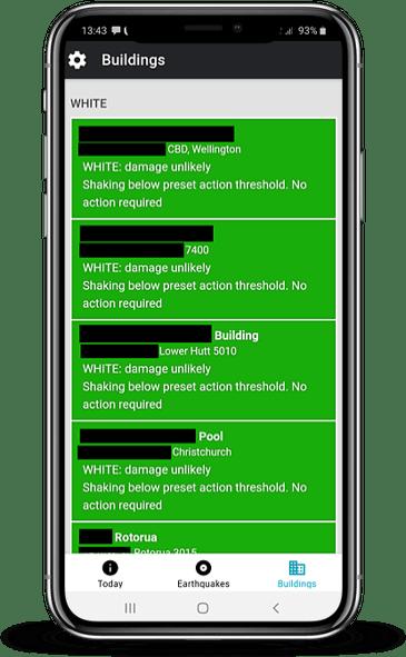 App building summary mockup - Wellington Earthquake