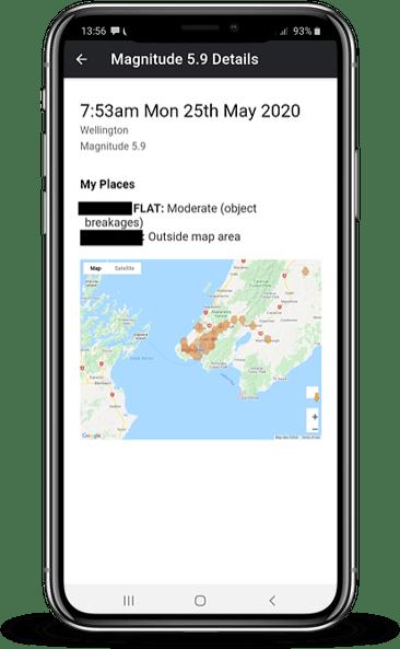 App event map mockup - Wellington Earthquake